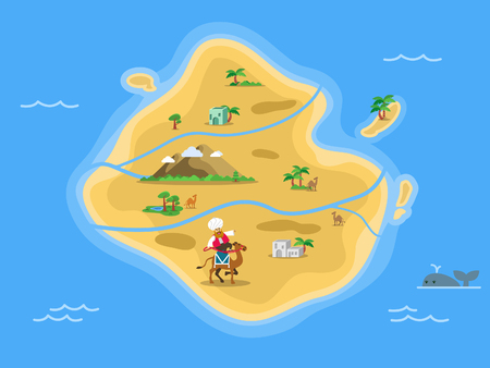 Desert island map in the middle of ocean.