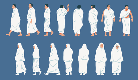 Sets of figurative character of hajj pilgrimage.
