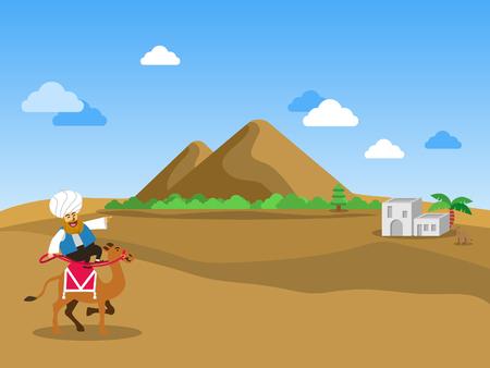 Camel rider travelling across the desert.