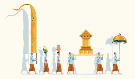 Hindus on Indonesia's island of Bali walk to the beach to perform purification ceremony of Melasti. Vector Illustration