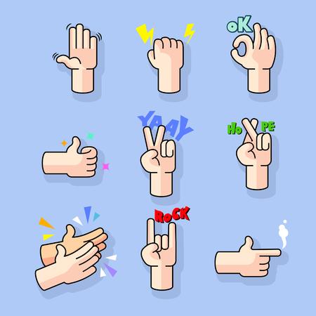 Modern line art comic cartoon hand gesture collection set.