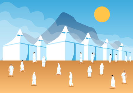 Muslim pilgrims at Mina tents area. One of Islams sacred pilgrimage route. Suitable for info graphic.  Ilustração