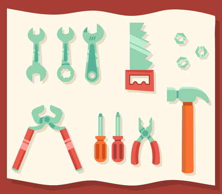 Modern flat design illustration of assorted workshop tools.
