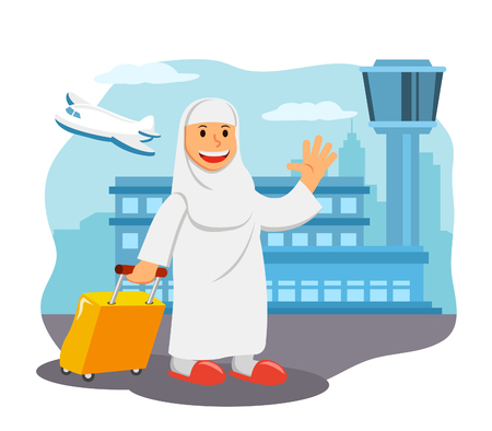 Women in airport ready for pilgimage trip to Mecca.