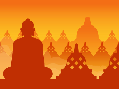 Buddha temple silhouette on sunrise, suitable for background.