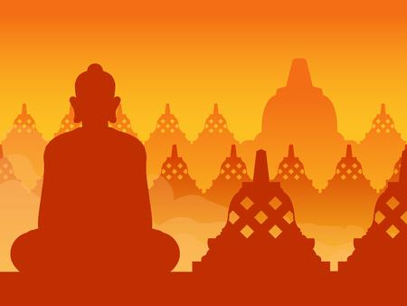 在日出的菩萨寺庙剪影,适合背景。
