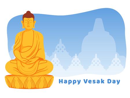 Meditating golden Buddha statue illustration for Vesak day greeting card.