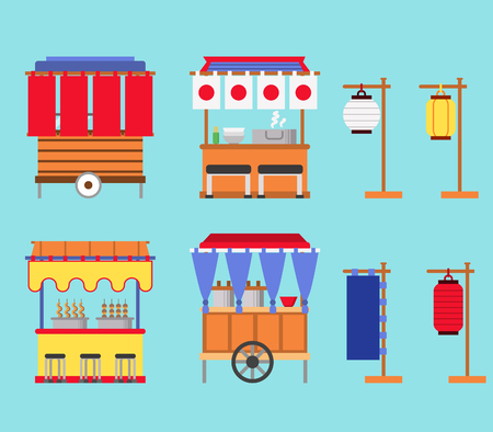 Flat vector illustration of Japan street food stall.