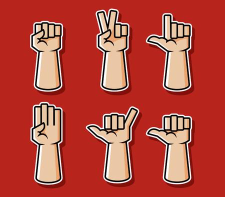 Strong comic style hand gesture vector illustration set. Illustration