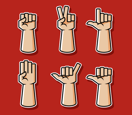 Strong comic style hand gesture vector illustration set. 向量圖像