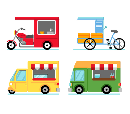 Various of street food stall use vehicle Stock Vector - 119348650