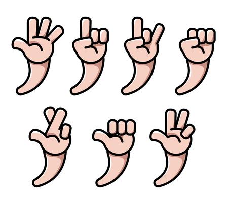 Four finger cartoon hand gesture vector illustration set.
