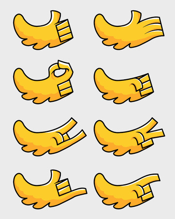 Yellow bird wing as hand cartoon gesture vector illustration set.