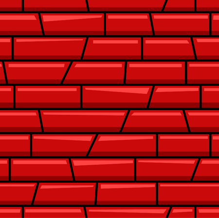 Red brick wall cartoon seamless pattern. Suitable for background, game tilemap asset and many more.
