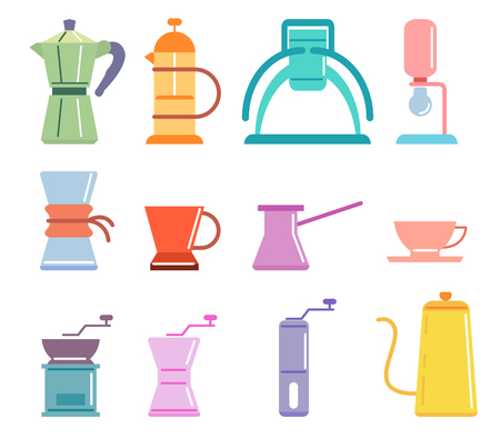 Coffee manual brewers set vector flat illustration on soft color and cheerful spirit. Иллюстрация
