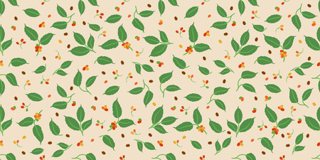 Decorative coffee berry and leaves seamless pattern. Suitable for background.