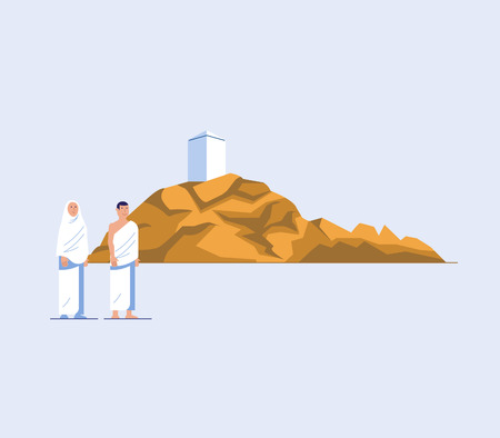 Flat character of hajj pilgrims at mount Arafat. One of Islams sacred pilgrimage route. Suitable for info graphic.