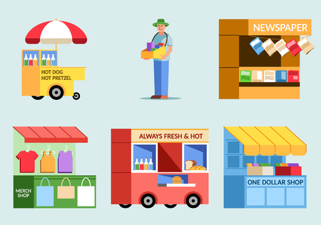 Various of street food vendor flat illustration.