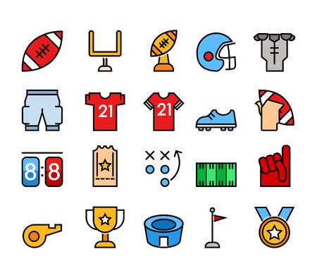 Simple color and line icons of American Football theme