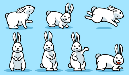 Cartoon vector illustration poses of white rabbit.