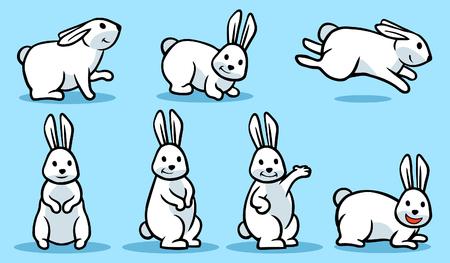 Cartoon vector illustration poses of white rabbit.
