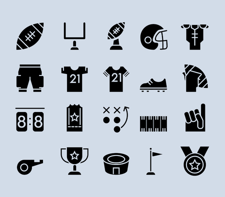 Filled out black pictogram icons of American Football theme