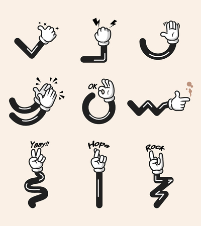 Assorted collection of comic cartoon hand gesture. Hand and arms in separated group. Stock Illustratie