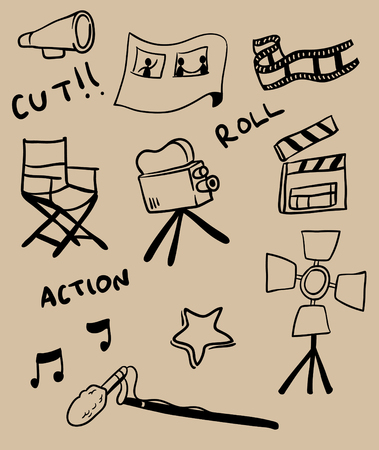 Hand drawing illustration collection set of cinema production theme.