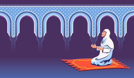 Moslem female sit and pray near decorative mosque gate. Illustration