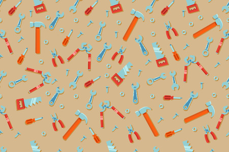 Seamless pattern of engineering workshop tools. Suitable for wrapping print.