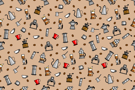 Random coffee manual brewers seamless pattern vector illustration. Suitable for print.