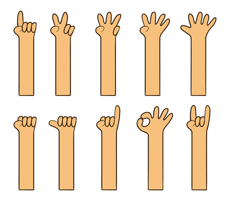 Cartoon hand gesture is like kids drawing vector illustration set. Иллюстрация