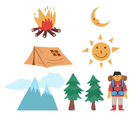 Cartoon drawing illustration of mountain camping theme.