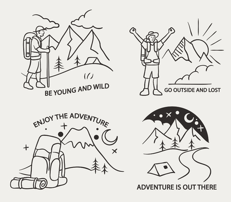 Simple line illustration of mountain hiking theme.