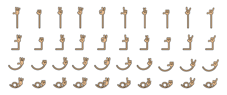 Collection set of five finger cartoon hand gesture. Hand and arm in separated group. Reklamní fotografie - 123088891