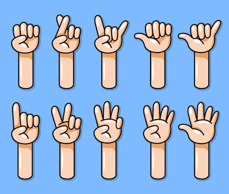 Ten cartoon hand gesture vector illustration set. Иллюстрация