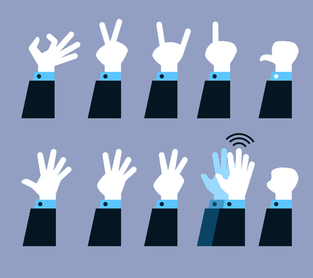 Vector collection set of flat hand gesture. Illustration
