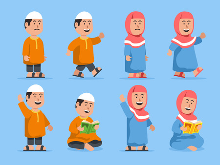 Moslem kids in some pose. Suitable for islamic theme illustration.