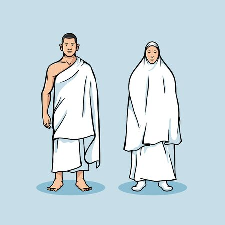 Couple character of hajj pilgrimage. Suitable for illustration or info graphic hajj theme.