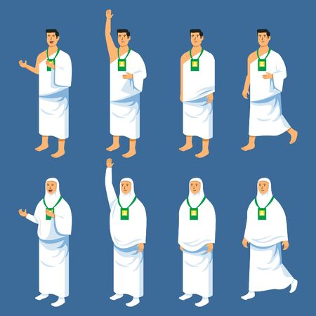Set couples character of hajj pilgrimage. Suitable for infographic. Иллюстрация