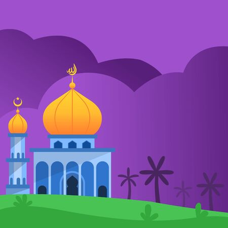 Flat illustration yellow dome mosque. Suitable for Islamic greetings or wisdom islamic theme background. You can place wisdom or greeting text on left side.