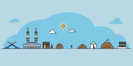 Landmark  icon of Meccas gate and  Hajj pilgrim progress rite.