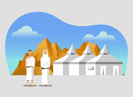 Muslim pilgrims at Mina tents area. One of Islams sacred pilgrimage route. Suitable for info graphic. Ilustração