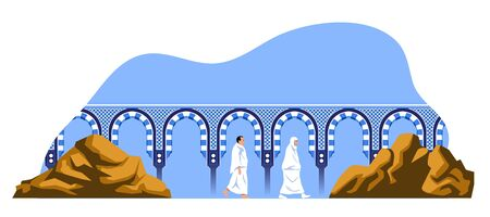 Couple hajj pilgrimage walk back and forth between the hills of Safa and Marwah. One of Islams sacred pilgrimage step. Suitable for info graphic. Иллюстрация