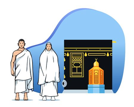 Male and female  muslim pilgrims in front of  Kaaba and maqam Ibrahim. Suitable for info graphic.