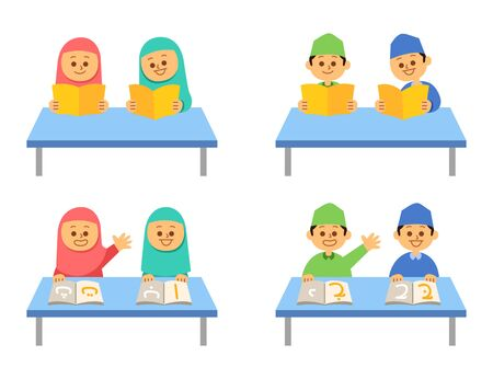 Moslem kids reading book at table. Suitable for islamic theme illustration.  イラスト・ベクター素材