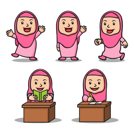 Moslem girl school kids character collection set. Suitable for islamic theme illustration.
