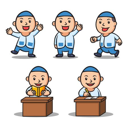 Moslem school kids character collection set. Suitable for islamic theme illustration.