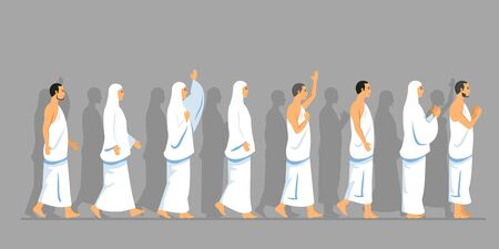 Sets of walking character of hajj pilgrimage.