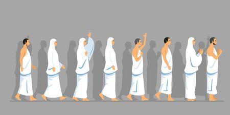Sets of walking character of hajj pilgrimage.